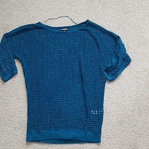 Express sparkly teal open stitch/fishnet sweater